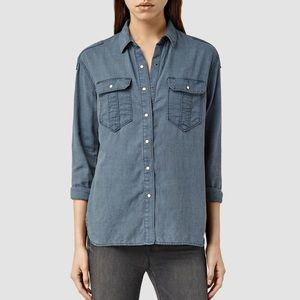 AllSaints Octavia Textured Button Down Shirt Top